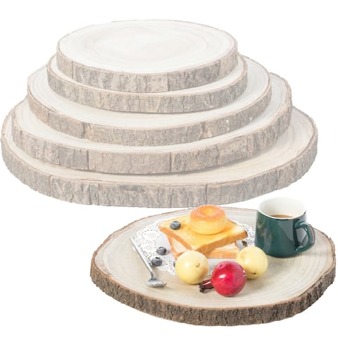 Barky Natural Wood Slabs Rustic Ornament Slice Tray Table Charger - Set of 5