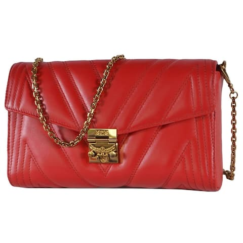 MCM Ruby Red Quilted Leather Medium MILLIE Crossbody Purse Bag