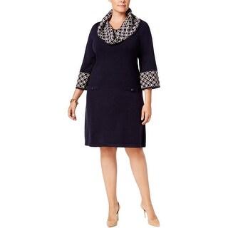 Jessica Howard Womens Plus Sweaterdress Printed Trim Cowl-Neck