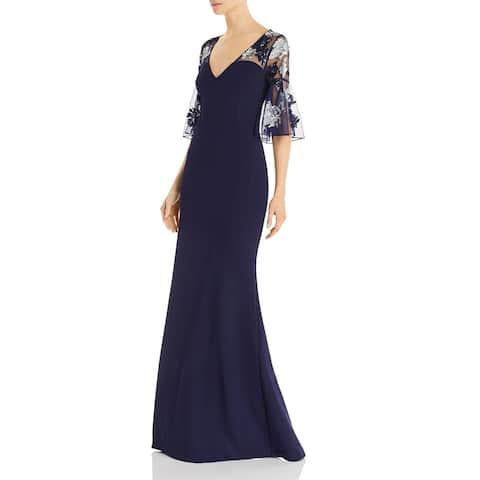 Aidan Mattox Women's Dress Sequin Elbow Sleeve Gown