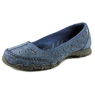 Skechers Bikers-Underline Women Round Toe Suede Blue Flats