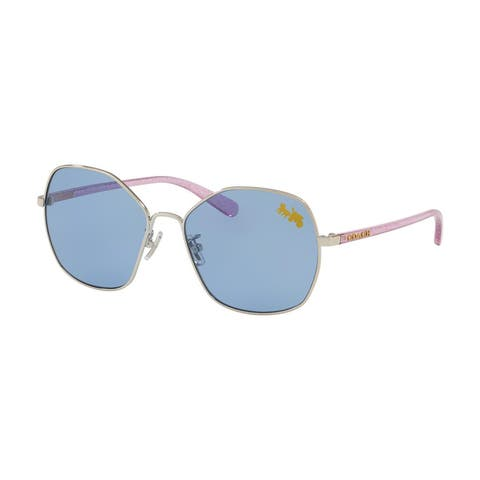 Coach HC7091 900180 56 Silver Woman Irregular Sunglasses