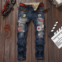 Men's Fashion Ripped Skinny Jeans Badges Patch Denim Pants Straight Trousers