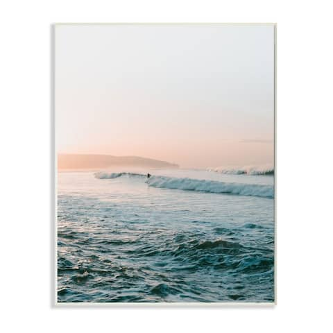 Stupell Industries Surfing the Tide Beach Wave Photograph Wood Wall Art - Blue