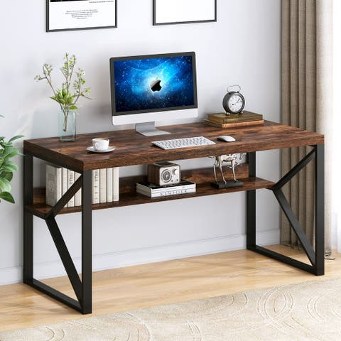 Faux Wood Computer Desk with Shelf, 55 inch Study Writing Table Workstation, Rustic Brown