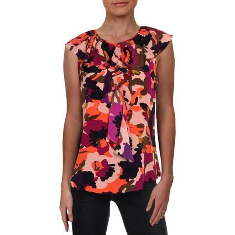 Trina Turk Womens Thorn Blouse Silk Floral Print - M
