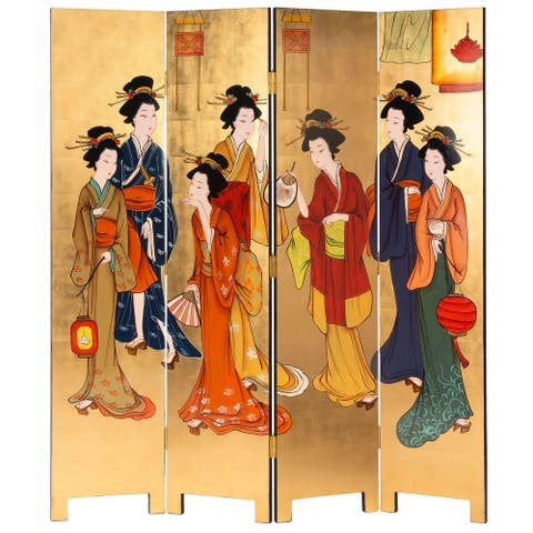 6 ft. Tall Gold Lacquer Room Divider - Geisha