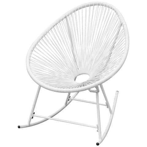 vidaXL Outdoor Rocking Chair White Poly Rattan