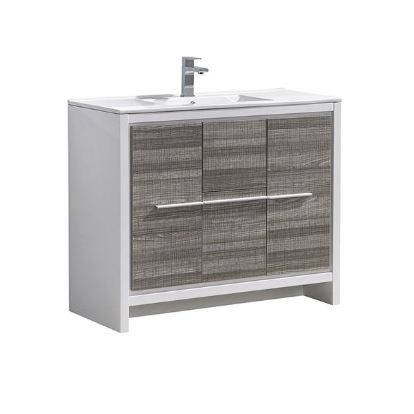 "Fresca FCB8140-I Senza 40"" Single Vanity Set with Wood Cabinet and Ceramic Vanity Top"