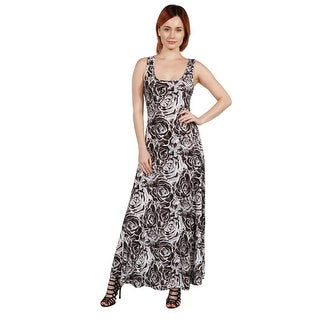 24seven Comfort Apparel Magda Grey Floral Long Dress