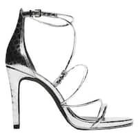 Kenneth Cole New York Women's Bryanna Strappy Sandal Silver Leather
