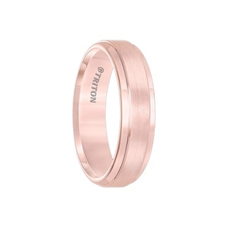 GALLICA Rose Tungsten Carbide Raised Flat Center Satin Finish with Polished Step Edge Comfort Fit Band by Triton Rings - 6mm