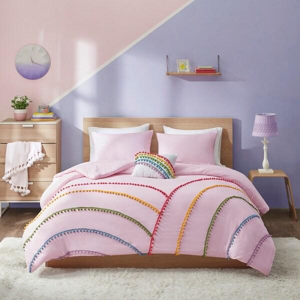 Naomi Pink Rainbow Comforter Set With Pompom Trim by Mi Zone. Opens flyout.