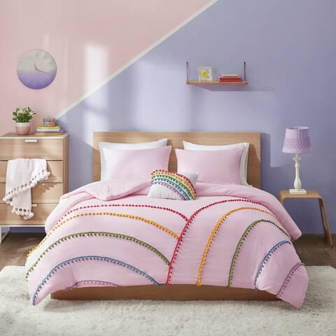 Naomi Pink Rainbow Comforter Set With Pompom Trim by Mi Zone