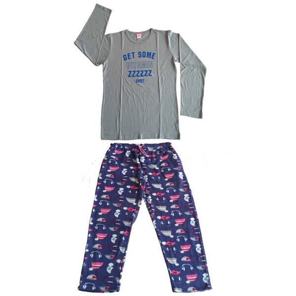 Women Cotton Top & Fleece Lined Pants Pajamas Set (Grey)