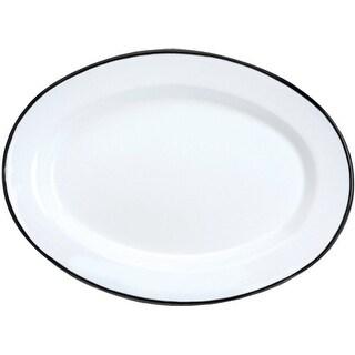 "Crow Canyon V94BLA Vintage Oval Plate, 12"" D, Black Rim"