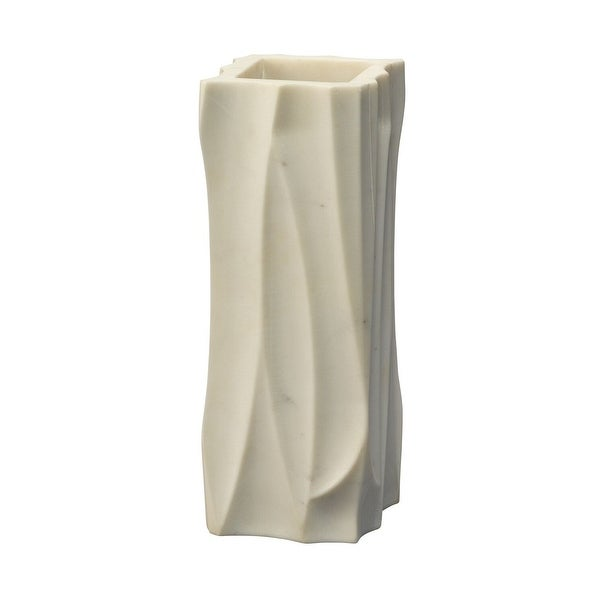 """12"""" White Icicle Medium Marble Vessel Table Top Decoration - N/A"""