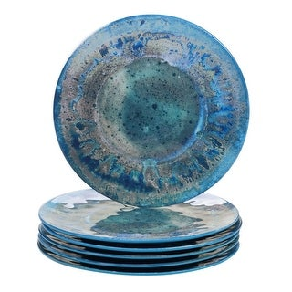 """Link to 6pc Blue and Green Distressed Finish Radiance Dinner Plate Set 12"""" Similar Items in Dinnerware"""
