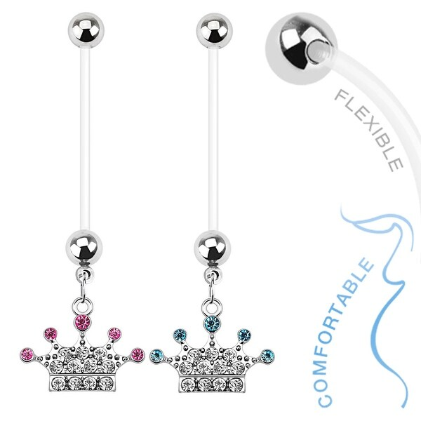Paved Gems Crown Dangle Bio Flex Pregnancy Navel Belly Button Ring (Sold Ind.)