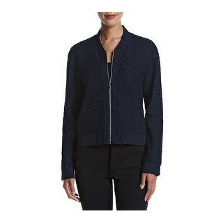 Tahari by ASL NEW Navy Blue Womens Size 8 Front Zip Lace Bomber Jacket