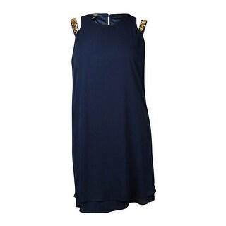 Alfani Women's Jeweled Shoulder Shift Chiffon Dress