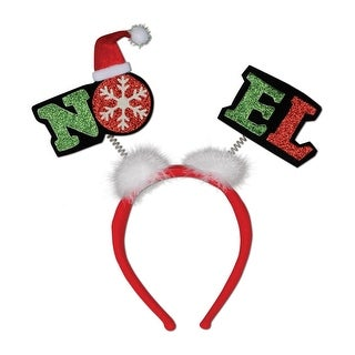 Pack of 12 Glittered Noel Boppers Snap-on Christmas Headbands One Size Fits Most