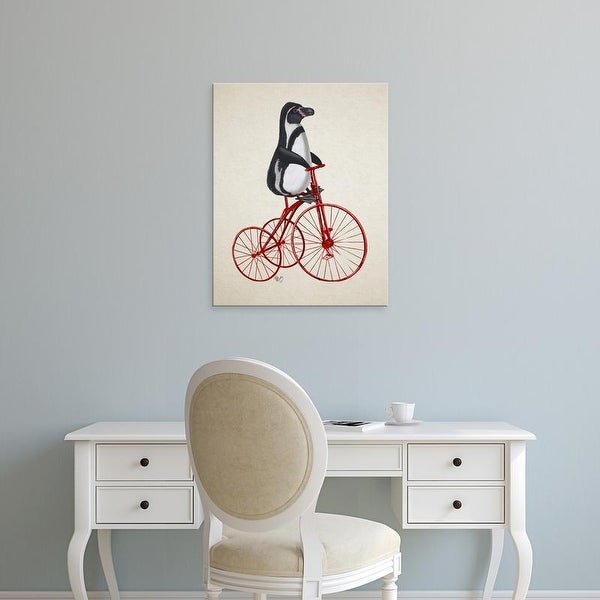 Easy Art Prints Fab Funky's 'Penguin on Bicycle' Premium Canvas Art