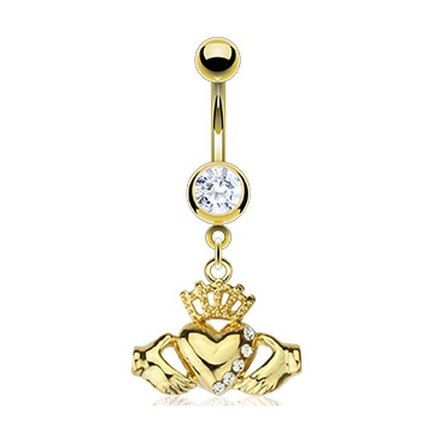 Gold Plated Stainless Steel Navel Belly Button Ring with Multi CZ Claddagh Dangle