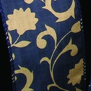 "Navy Blue Floral Lattice Print Wired Cotton Craft Ribbon 4"" x 40 Yards"
