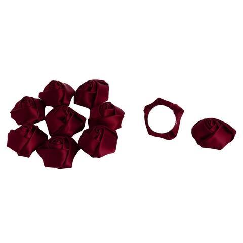 Wedding Satin Artificial DIY Crafts Appliques Flower Buds Rose Dark Red 10 PCS - Dark Red