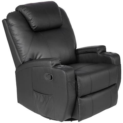 Costway Electric Massage Recliner Sofa Chair Heated 360 Degree Swivel with Cup Holder