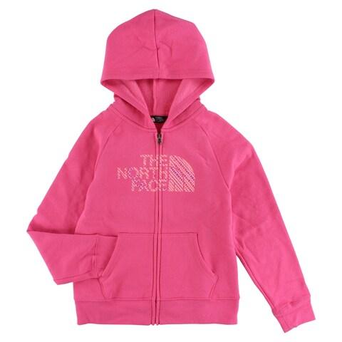 The North Face Girls Full Zip Polka Dot Logo Hoodie Light Pink - light pink/purple