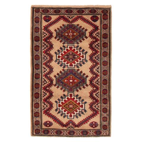 ECARPETGALLERY Hand-knotted Teimani Tan Wool Rug - 3'1 x 4'9