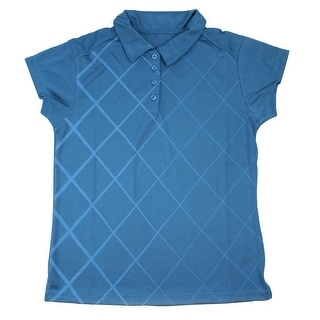 PGA TOUR Women's Polo Shirt - Blue Checkered - Large