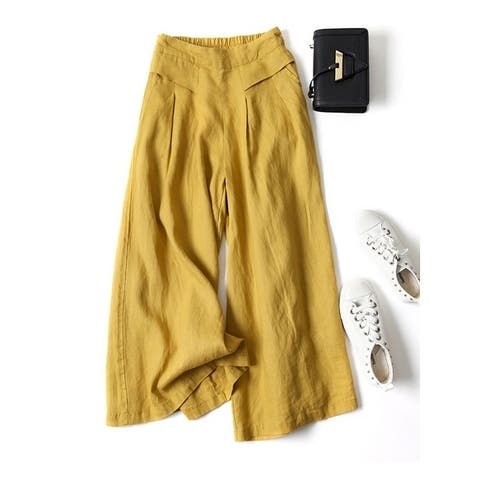 Loose Wide Leg High Waisted Solid Pants