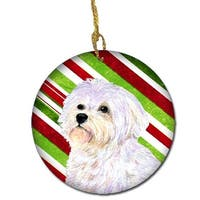 Maltese Candy Cane Holiday Christmas Ceramic Ornament