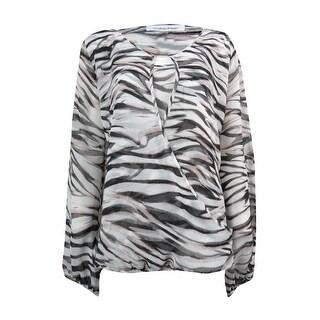 Calvin Klein Women's Zebra Print Crossover Blouse