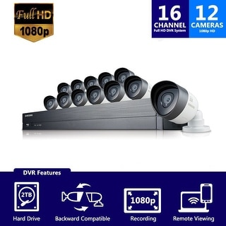 SDH-C75100-12 - Samsung 12 Channel 1080p HD 2TB Security System SDH-C75100 with 2 additional cameras