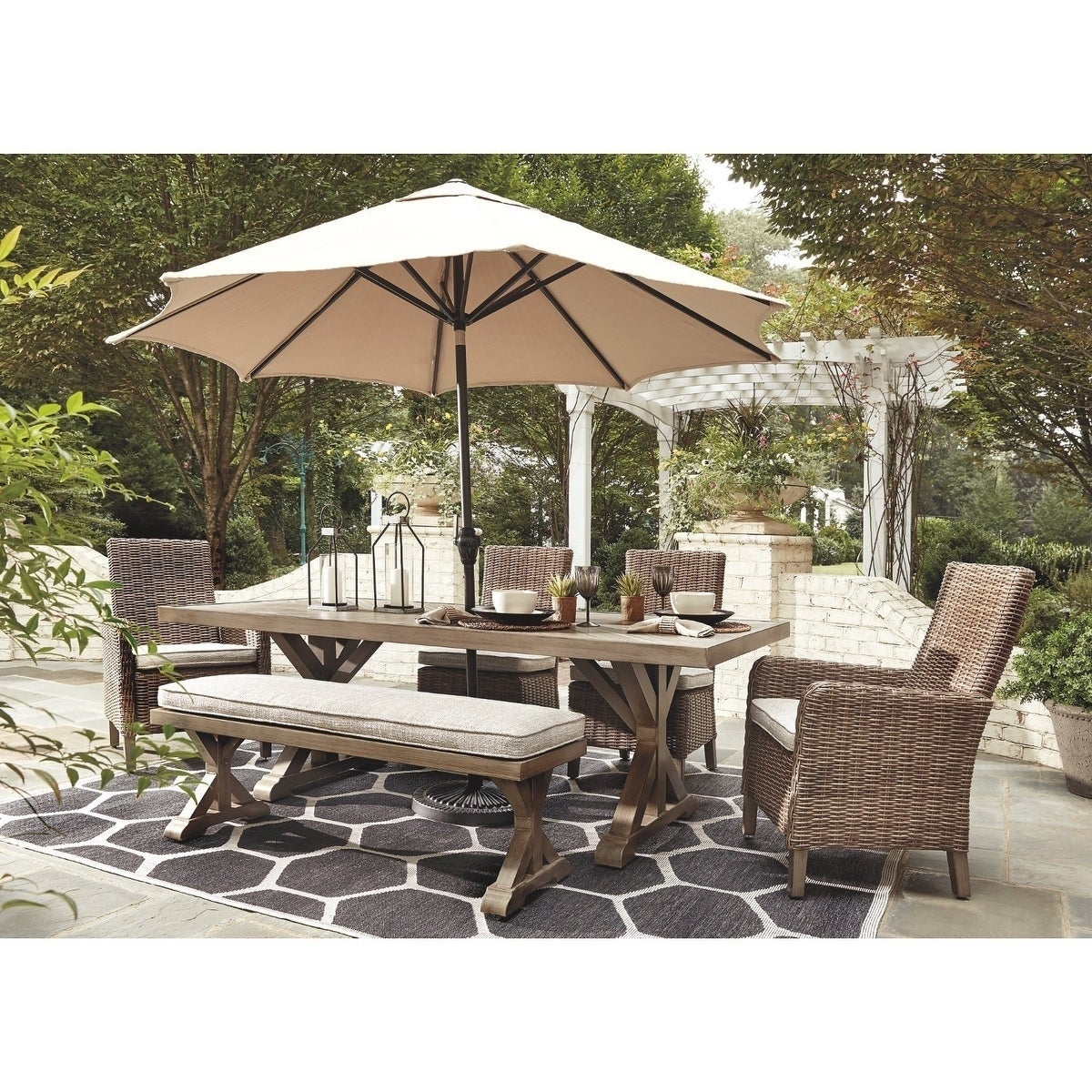 Dining Table With Umbrella Option