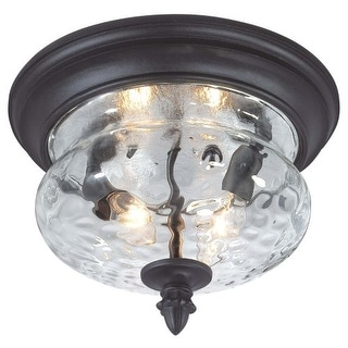 The Great Outdoors 9909-1-66 2 Light Flush Mount Ceiling Fixture in Black from the Ardmore Collection
