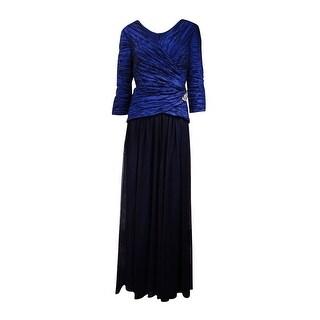 Alex Evenings Women's Beaded Crinkled-Taffeta Tulle Gown