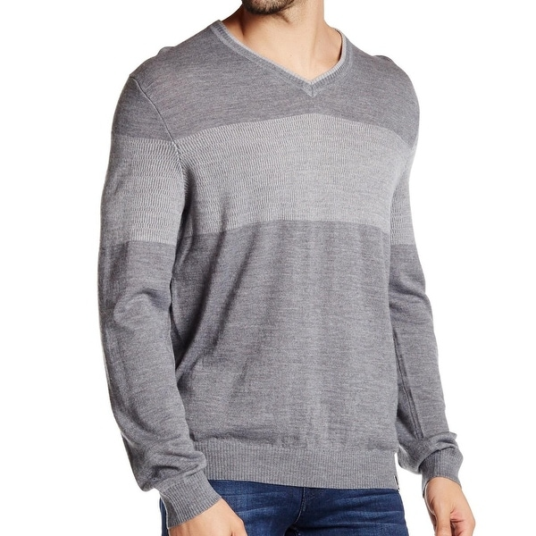 Calvin Klein NEW Gray Colorblocked Mens Size XL V-Neck Pullover Sweater