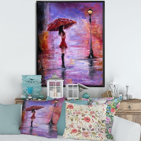 Designart 'The Woman With The Umbrella Walking In The Rain I' French Country Framed Canvas Wall Art Print