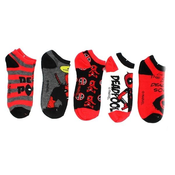 Marvel Deadpool Ankle Socks, 5-Pack - Red