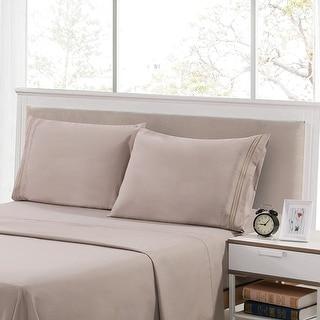 Porch & Den Embroidered Soft Microfiber Bed Sheets Set (Set Of 4)