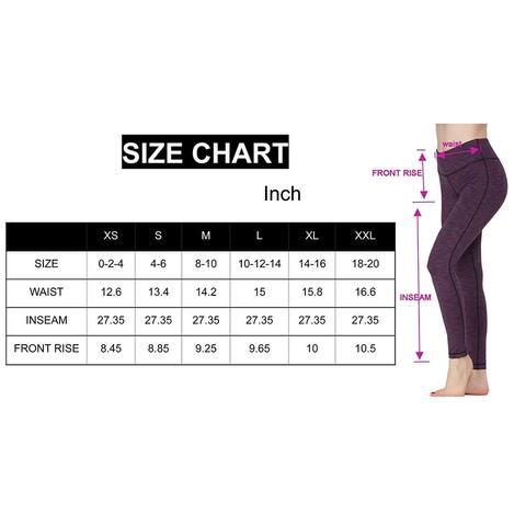 Oalka Women Power Flex Yoga Pants Workout Running Leggings Black XXL - XX-Large