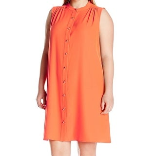 Calvin Klein Orange Womens Size 22W Plus Shirt Collar Shift Dress