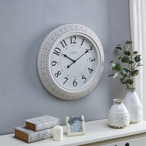 FirsTime & Co.® Beatrix Metalwork Clock, American Crafted, Off-white, Metal, 21 x 2.25 x 21 in - 21 x 2.25 x 21 in