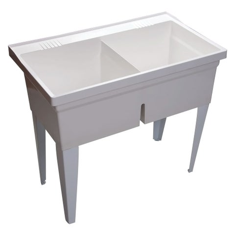 """Proflo PFLT4024 40"""" Double-Basin Free Standing Laundry Sink with 50/50 Split - White - N/A"""