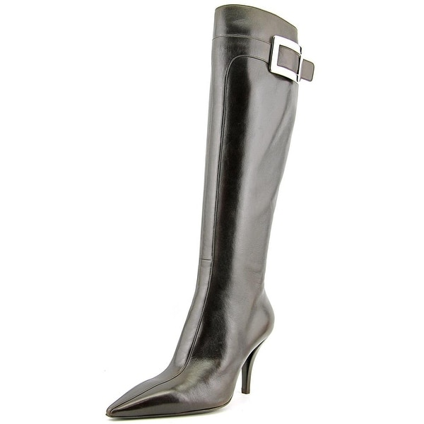 Roger Vivier Stivale Bouckle T.85 Women Pointed Toe Leather Brown Knee High Boot